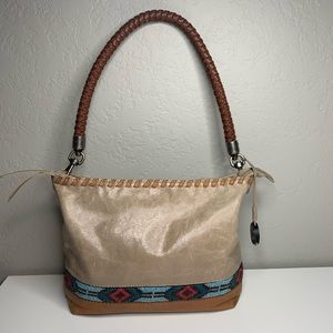 The Sak Beaded Southwest Boho Tan Leather Purse